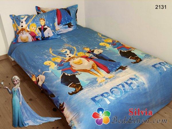 Детски спален комплект ранфорс Замръзналото кралство - син